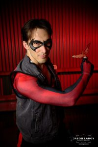 Arsenio from Arsenio's Arsenal with a Tiger Stone FX robin nightwing mask