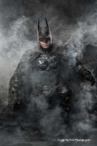 Twin Cities Batman with Tiger Stone FX Arkham Asylum cowl - photo by Craig Madsen