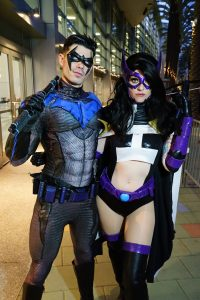 Dynamite Webber and WhoaNerdalert with Tiger Stone FX Nightwing and Huntress mask, nightwing gauntlets and emblems