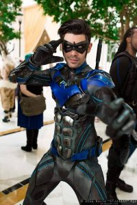 Dynamite Webber with Metallic Blue Young Justice Nightwing chest emblem and face mask made by Tiger Stone FX