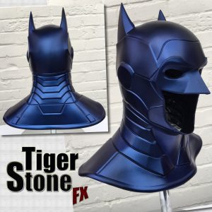 Metallic blue New 52 Batman cosplay cowl by Tiger Stone FX