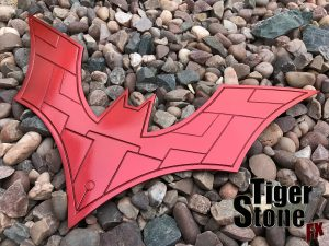 Batman Beyond chest emblem in hot metallic red - by tiger stone fx