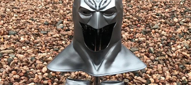 White Lantern Batman cowl and gauntlets in silver