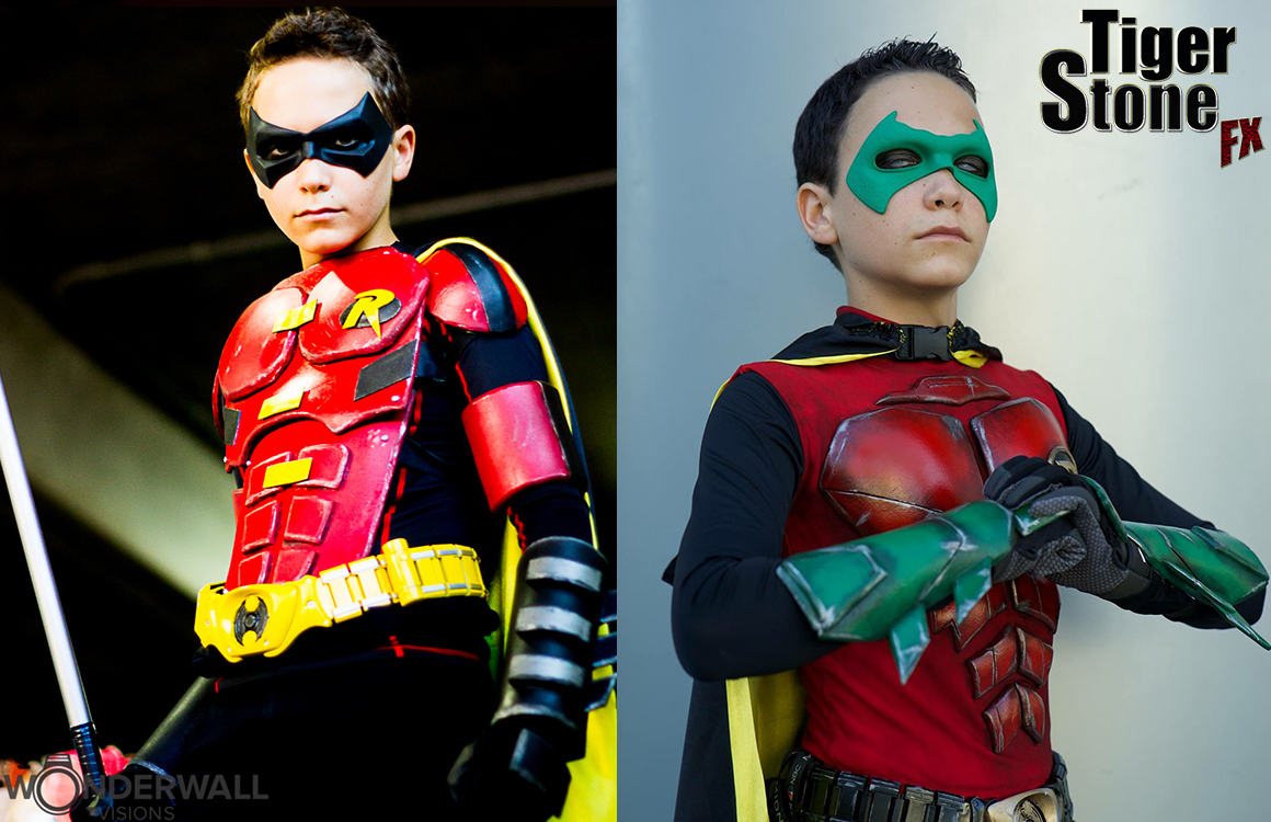 GalacticSpidey's awesome cosplay with Tiger Stone FX Arkham Knight Robin mask and Damian wayne mask
