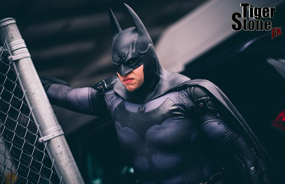 Big Hero Vince Batman cosplay with Tiger Stone FX Arkham Asylum cowl