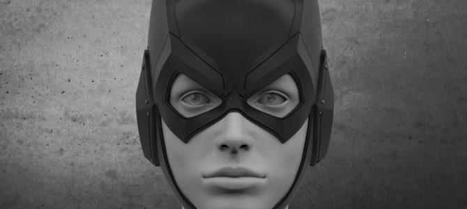 Finished sculpture of our Arkham Knight Batgirl cowl.🦇