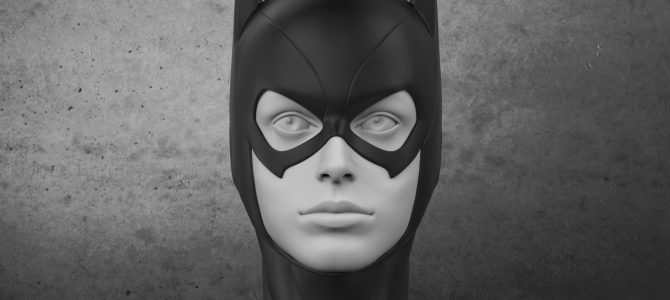 Finished sculpture of our Batgirl cowl