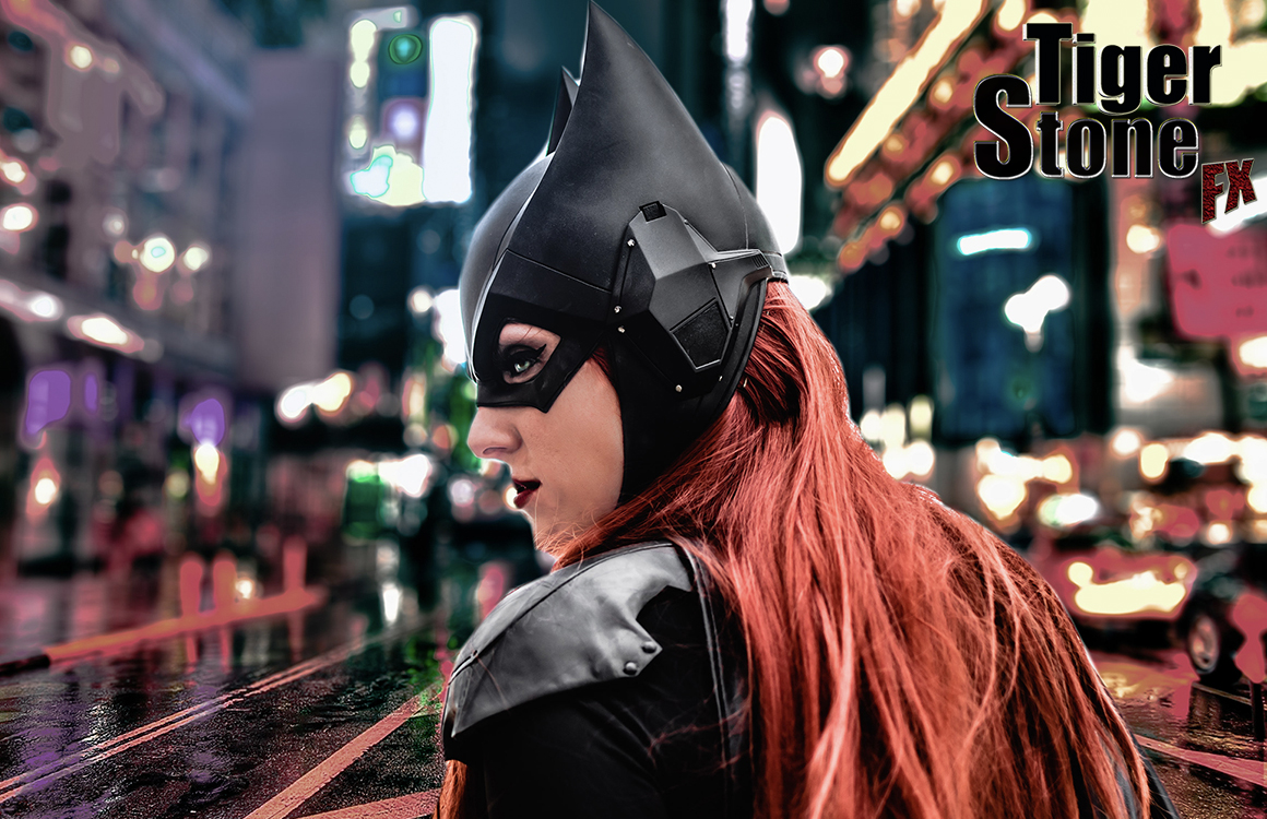 Batgirl cowl Arkham Knight inspired - worn by NerdAlert - photo by Kryptic Frames - cowl made by Tiger Stone FX