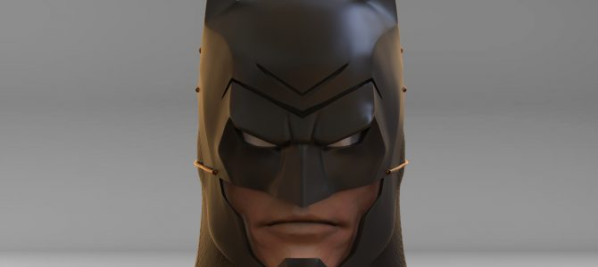 Batman Ninja cowl – finished sculpture